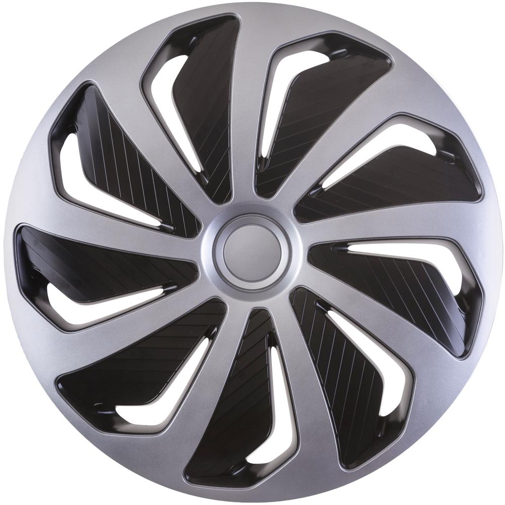 Set capace roti auto Cridem Wind 4buc - Argintiu/Negru - 15' - Resigilat