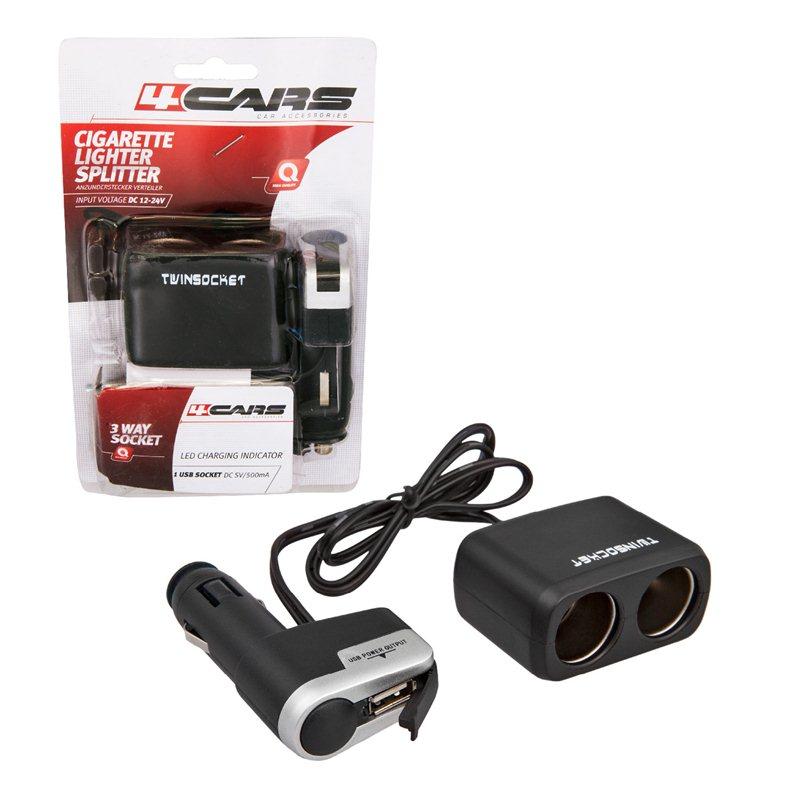Priza dubla bricheta cu USB 12/24V 4Cars