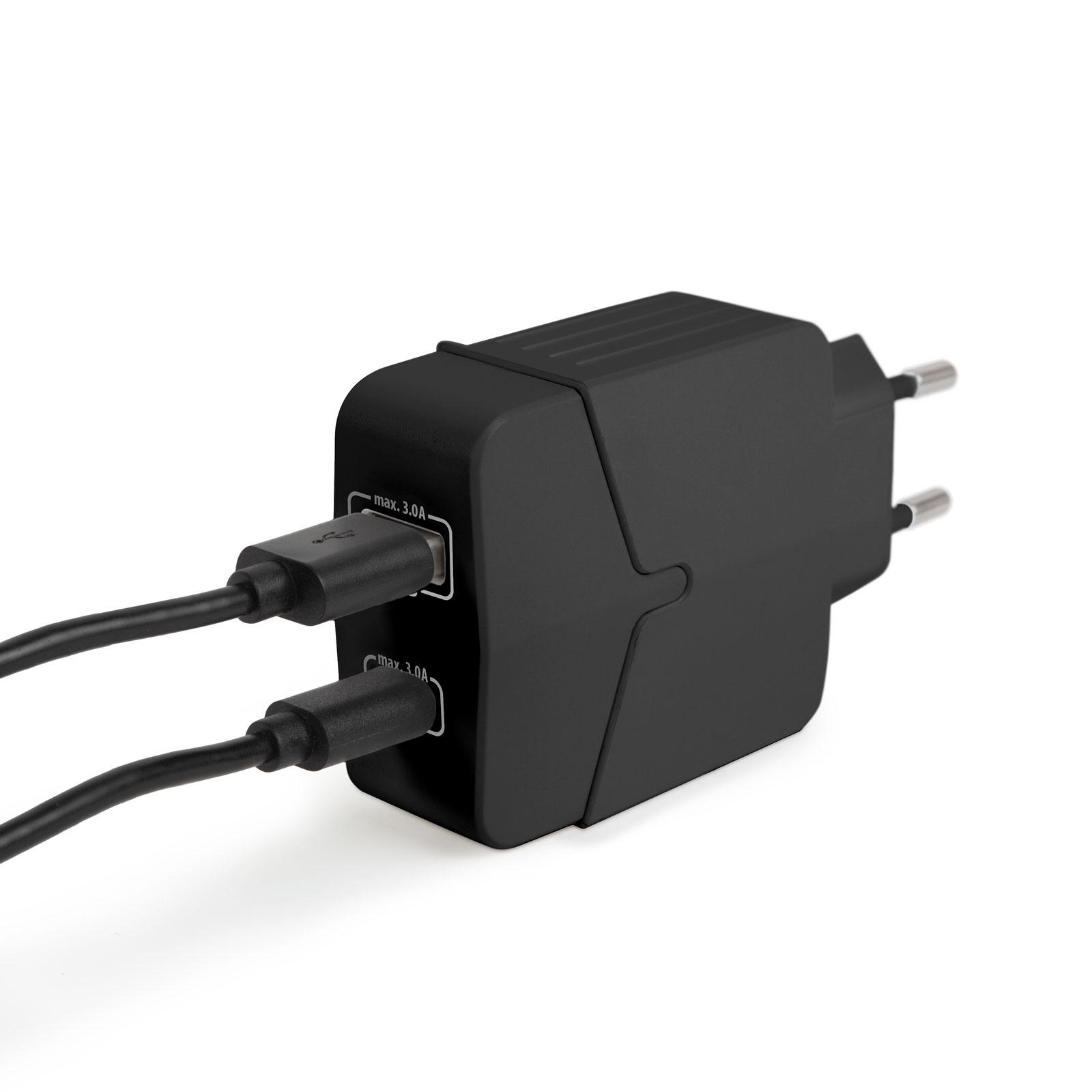 Adaptor de retea USB + Type-C PD18W cu incarcare rapida - negru