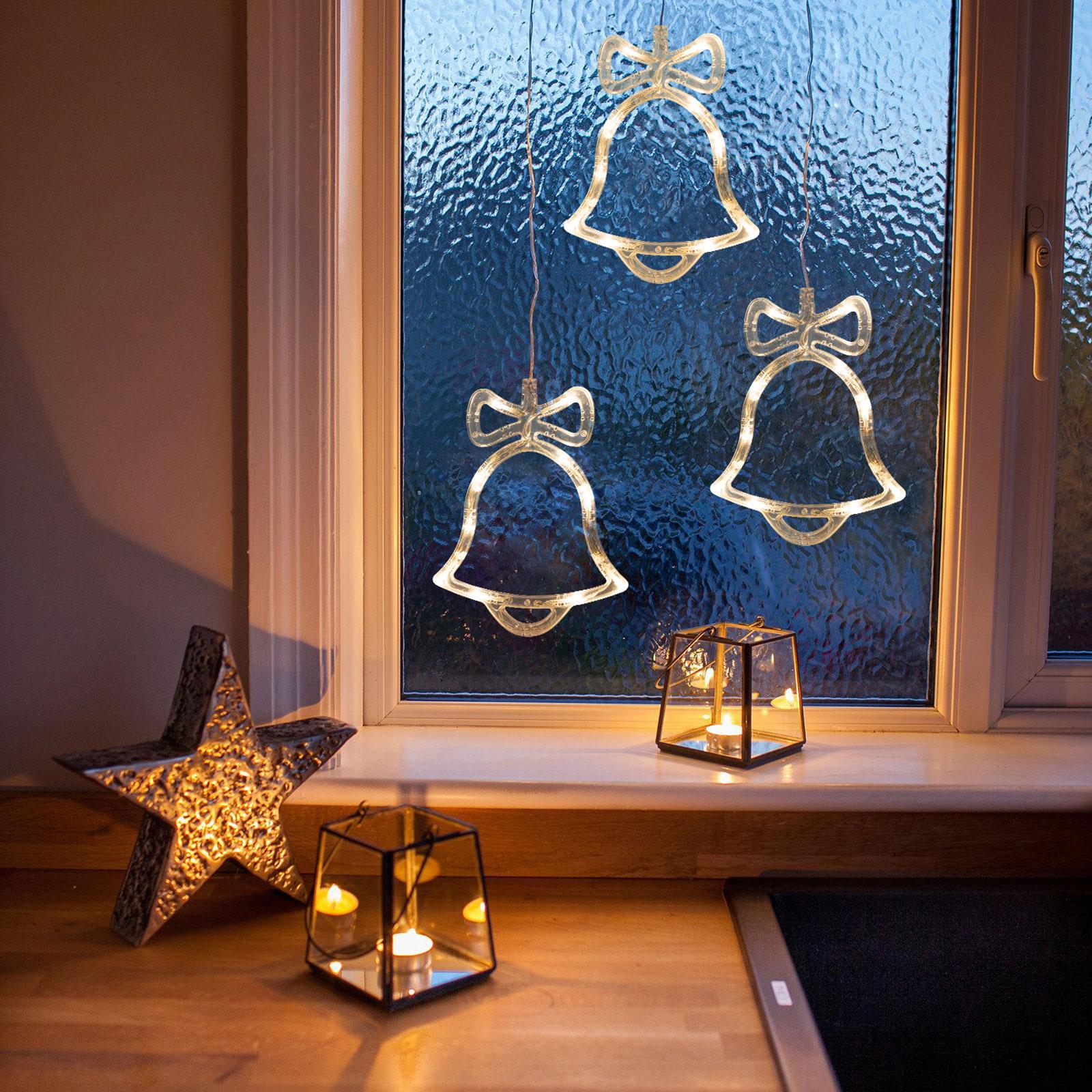 Decor ferestre cu LED - clopoței - 21 x 16 cm - alb cald - 3 x AAA