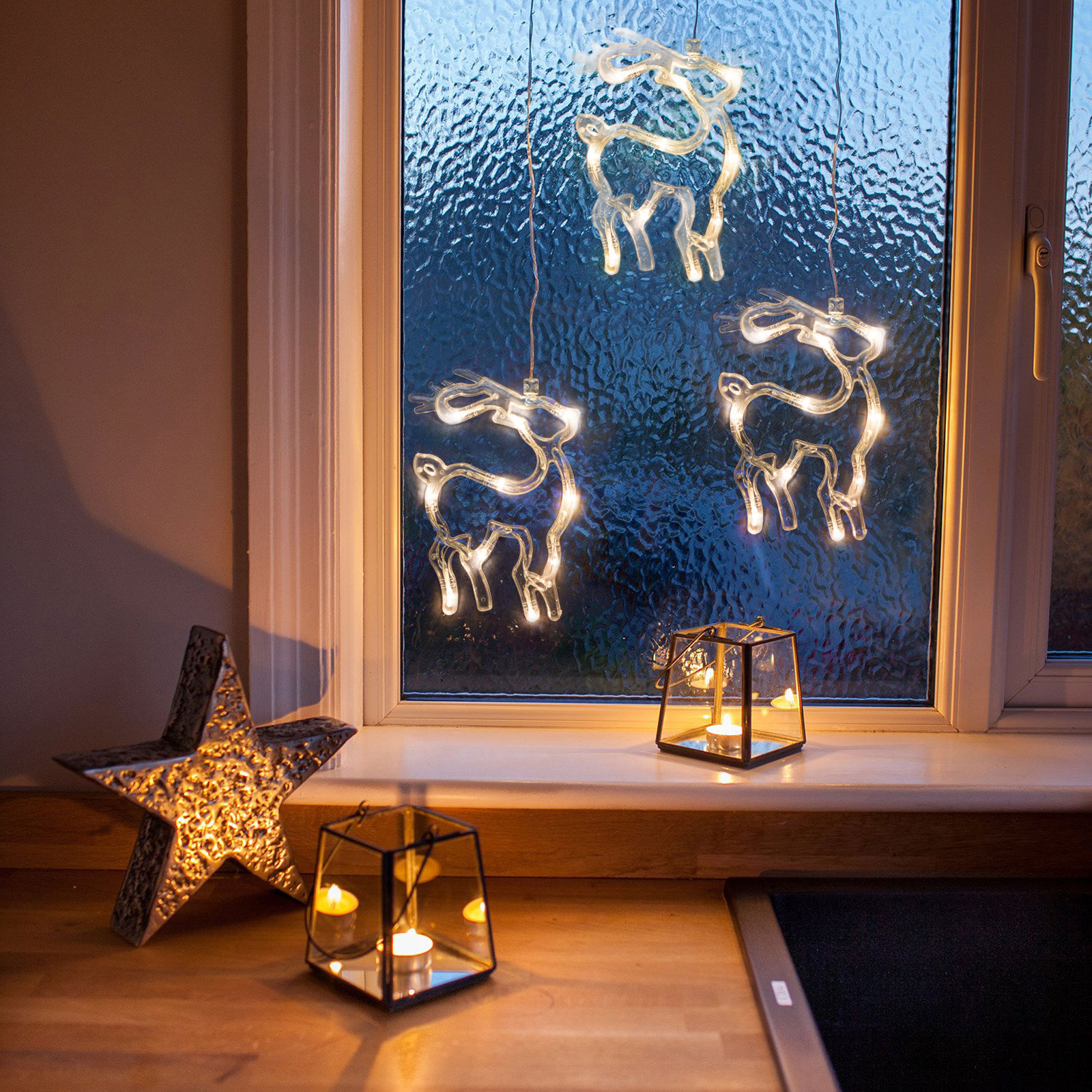 Decor ferestre cu LED - ren - 19 x 13,5 cm - alb cald - 3 x AAA