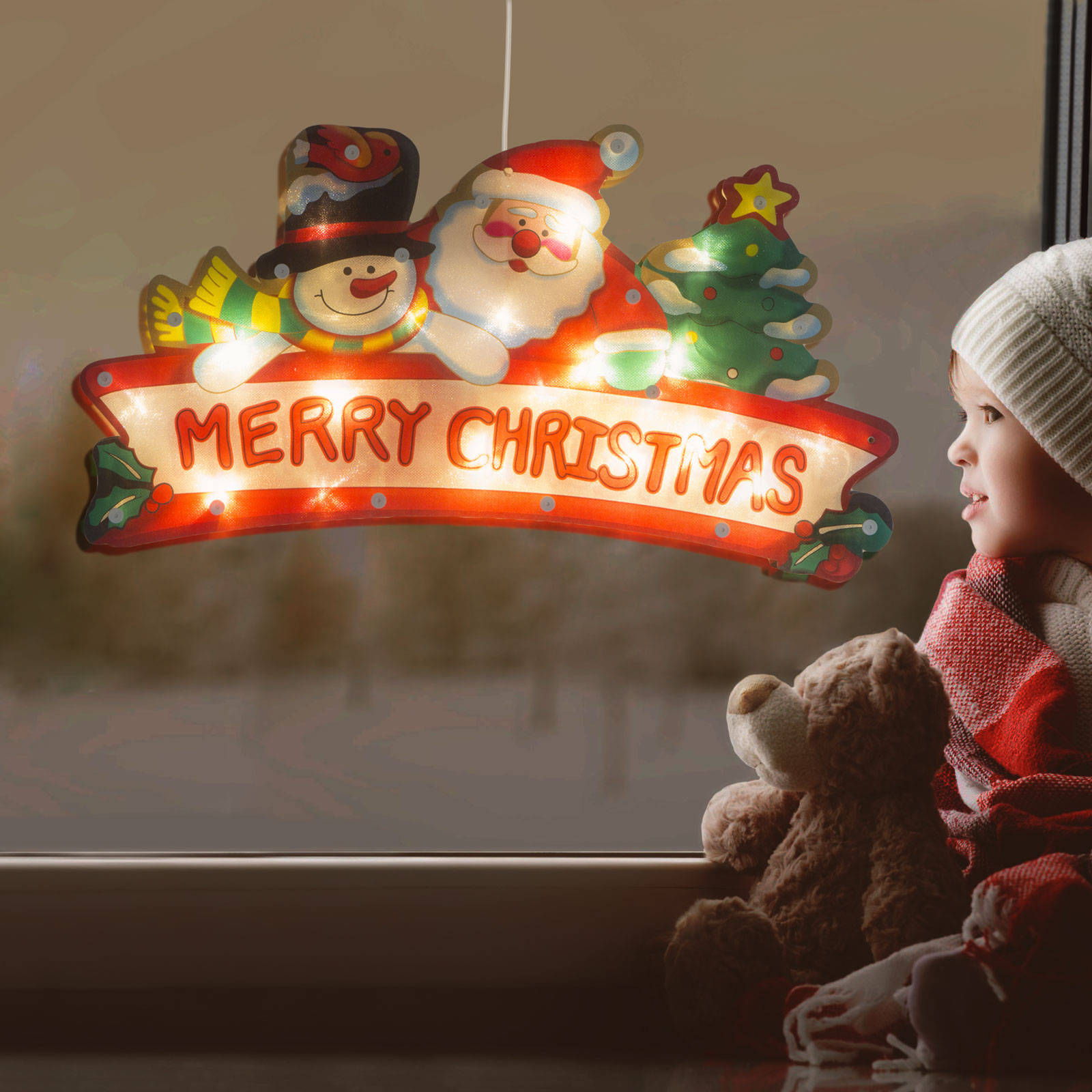 Decor LED pentru ferestre mari - Merry Christmas - 45 x 24 cm - alb cald - 3 x AAA
