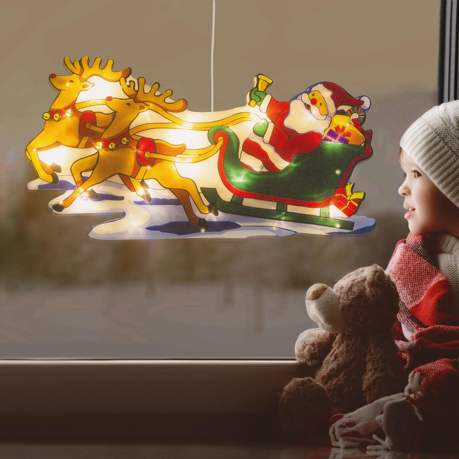 Decor LED pentru ferestre mari - Sania lui Moș Crăciun - 45 x 24 cm - alb cald - 3 x AAA