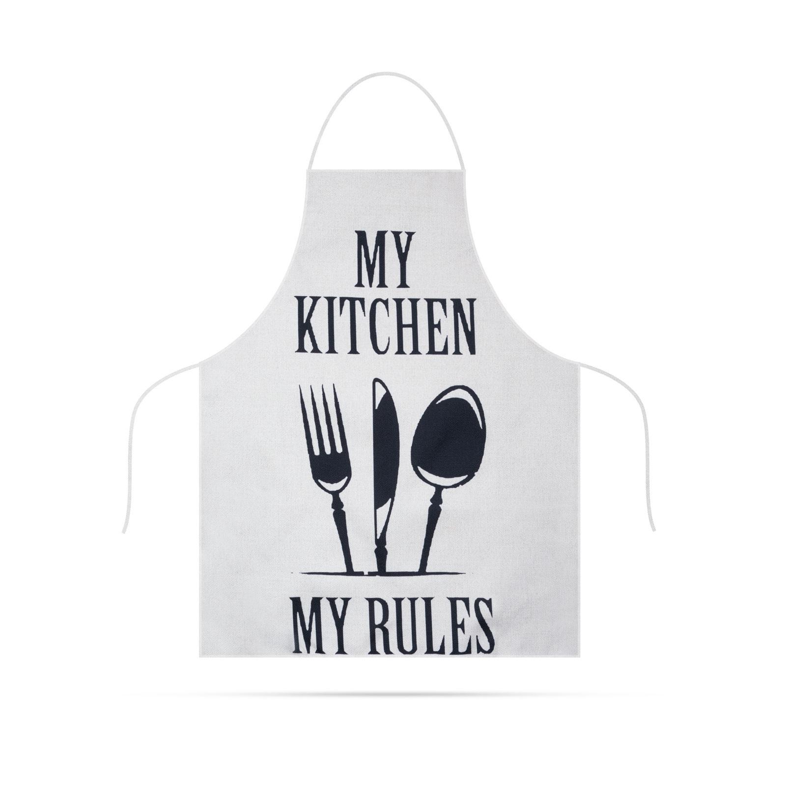 Șorț de bucătărie - 68 x 52 cm - My kitchen, My rules! (alb)