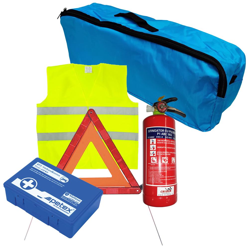 Set pachet prim ajutor auto, trusa sanitara PET, stingator 1kg SEP, triunghi presemnalizare 1buc, vesta reflectorizanta SEP, geanta organizatoare Albastru