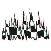 Autocolant Burning flag 1buc 49x34cm - Rosu