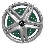 Capace roti auto VIP 4buc - Argintiu/Verde - 14''