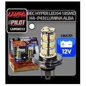 Bec Hyper-Led54 - 18SMD 12V H4 P43t 2buc - Alb