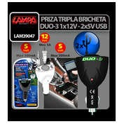 Priza tripla bricheta Duo-3 12V + USB
